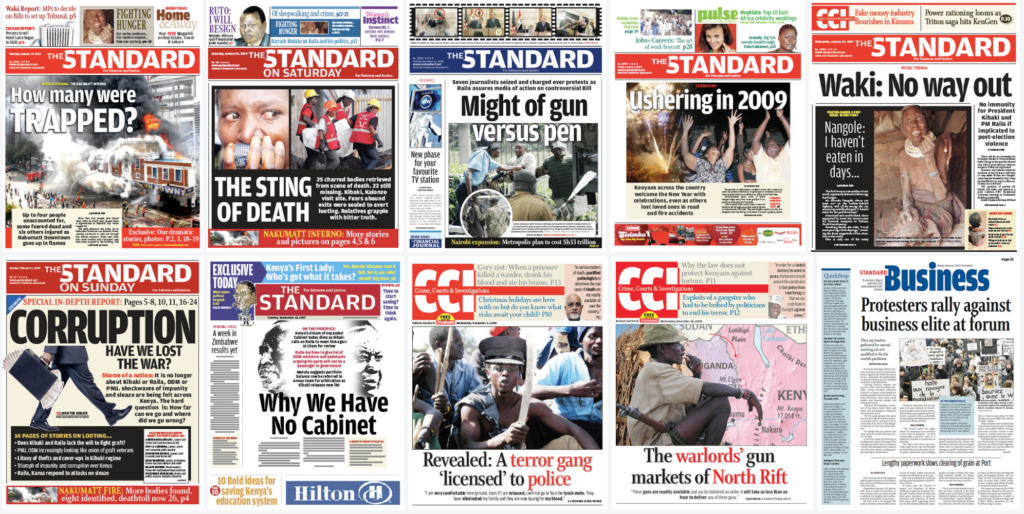 Covers of The Standard newspaper of Nairobi, Kenya