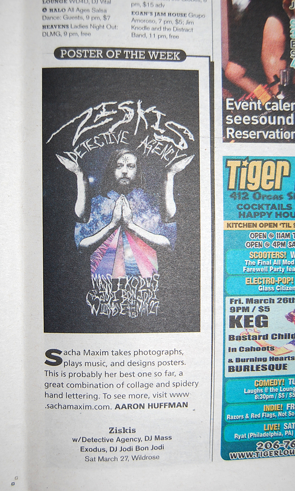 """Poster of the Week"" feature from The Stranger, Seattle's alternative weekly newspaper"