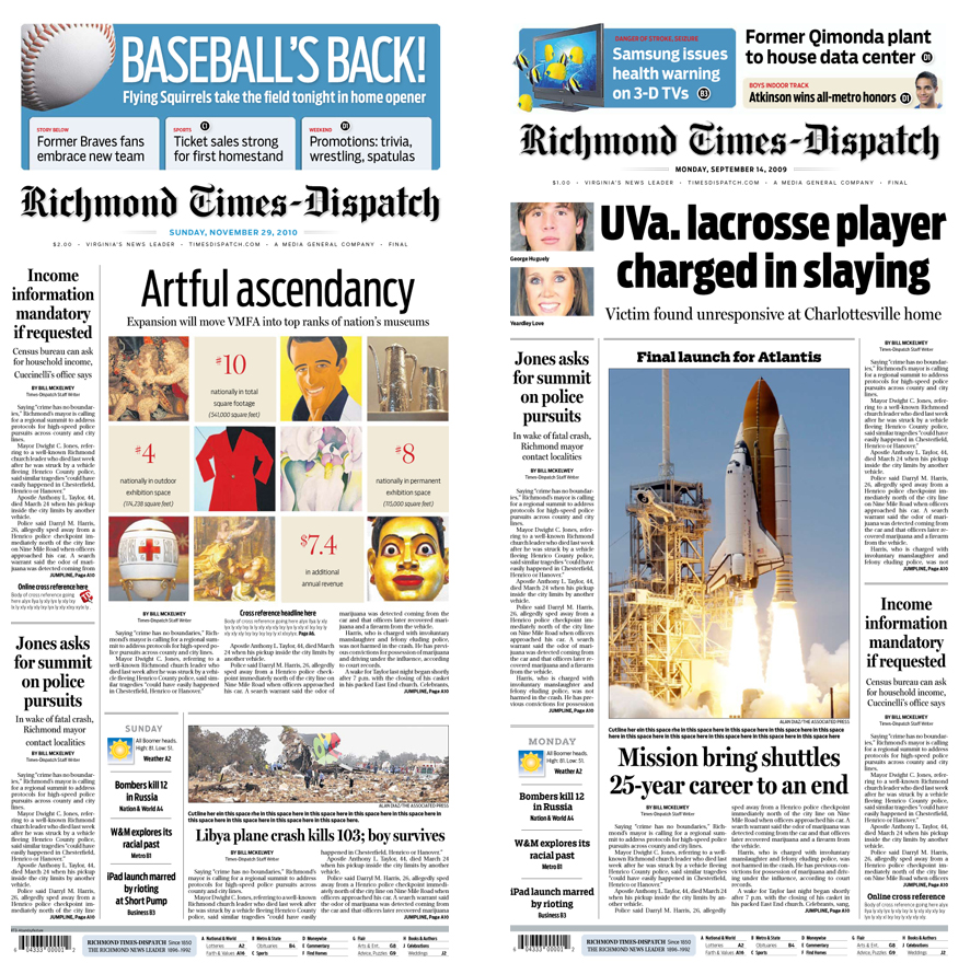 Richmond Times-Dispatch redesigned front pages