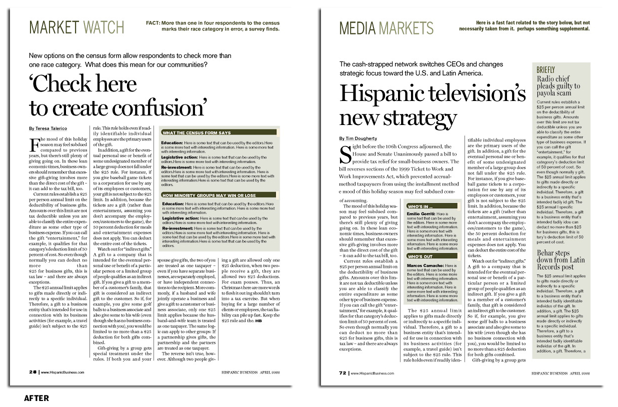 News pages of Hispanic Business magazine, redesigned for easier scanning and placement of more relevant information for readers.