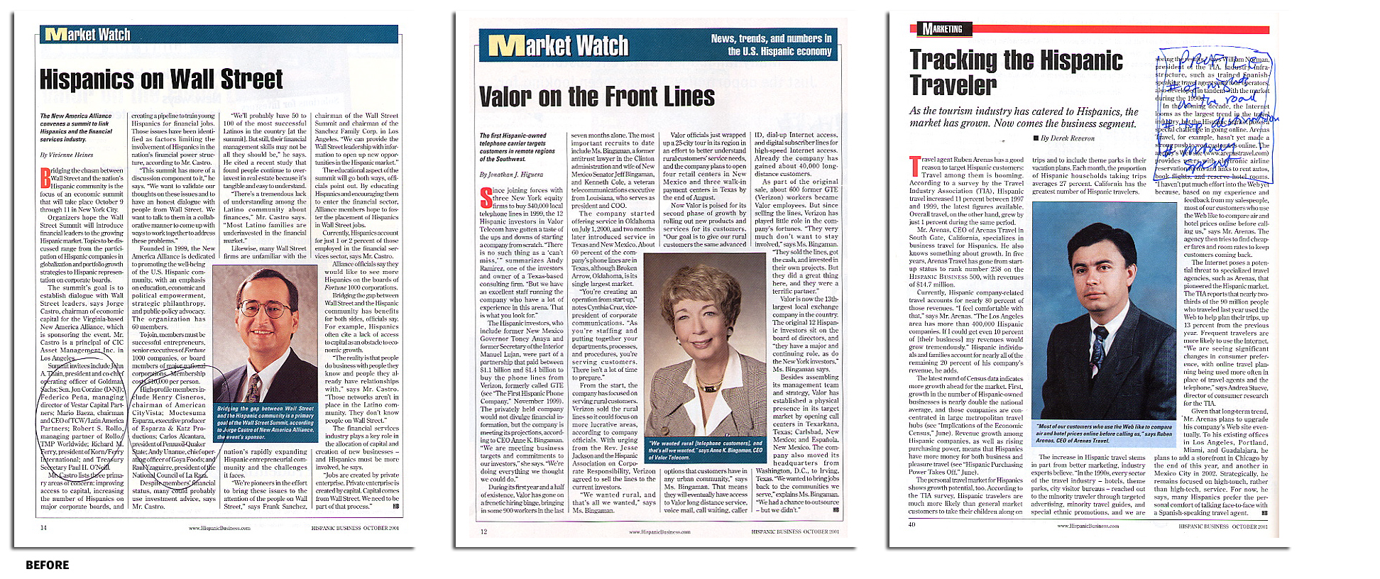Hispanic Business magazine, a sampling of news pages before redesign.