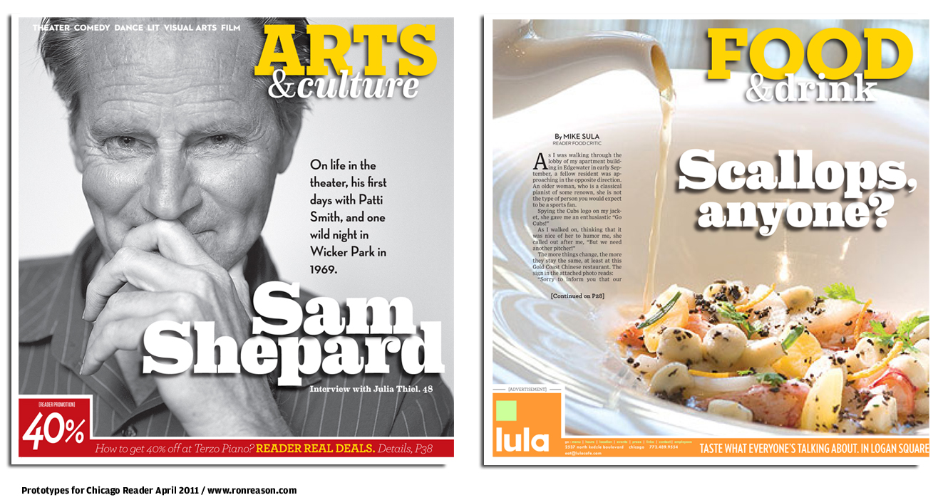 Prototypes for Arts and Food sections, Chicago Reader newspaper redesign, 2011.