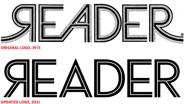 Chicago Reader newspaper logo, then and now (2011)