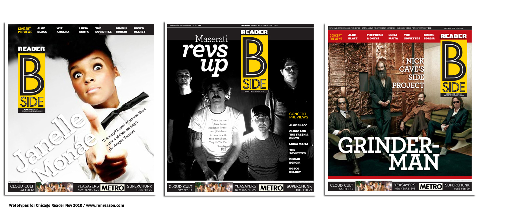 Chicago Reader newspaper redesign: Prototypes for rebranding of music section into B SIDE
