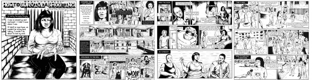 "Excerpted panels from ""How to Survive a Shooting."" Click to enlarge."