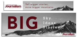 Design solutions for our J-school rebranding include this banner web ad leading to a possible new landing page for the school's website.