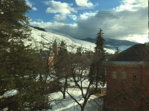 The winter view from the Pollner professor's office. Need a break from brow-furrowing? Strap on your Yaktrax and take a brisk climb up the mountain!