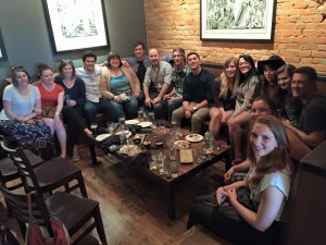 No designing and disrupting tonight - just great food and drinks at the Top Hat Lounge in Missoula, for our class going away celebration! May 13, 2015. Photo by Carol Van Valkenburg.