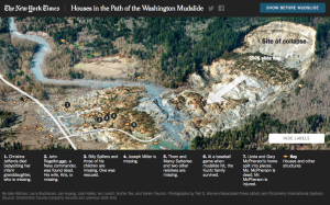 Interactive graphics can tell stories with more immediacy and impact than text alone, as is the case here with a graphic showing homes in the path of a Washington mudslide. Click to experience the full graphic, produced by Larry Buchanan and team at The New York Times.