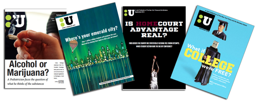 The Upshot is a Times brand that's continually evolving. Why not retro-brand it as a glossy magazine insert for the new crop of college weeklies cropping up? Some of the cover prototypes designed by our class.