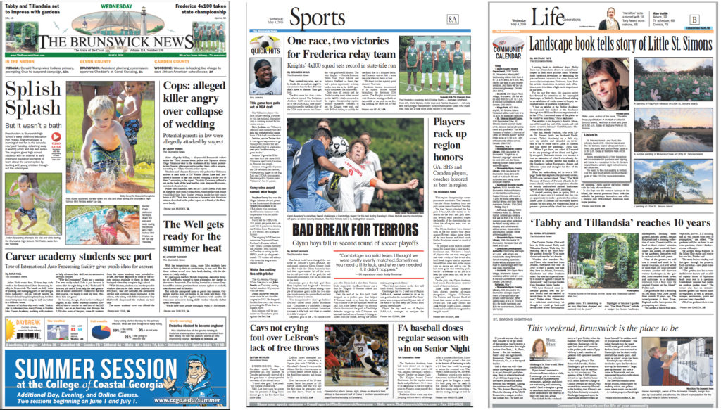 Pages from The Brunswick (Ga.) News, before its 2016 redesign.