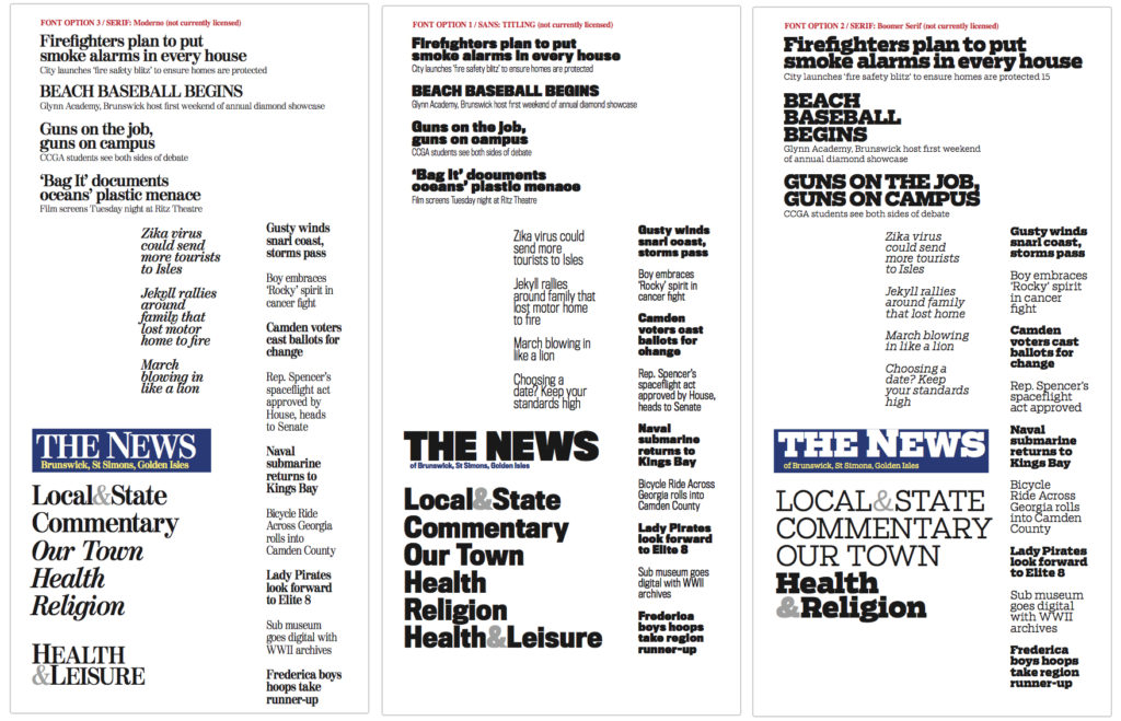 Font samples for the redesign of The Brunswick (Ga.) News, 2016, by Ron Reason Consulting.