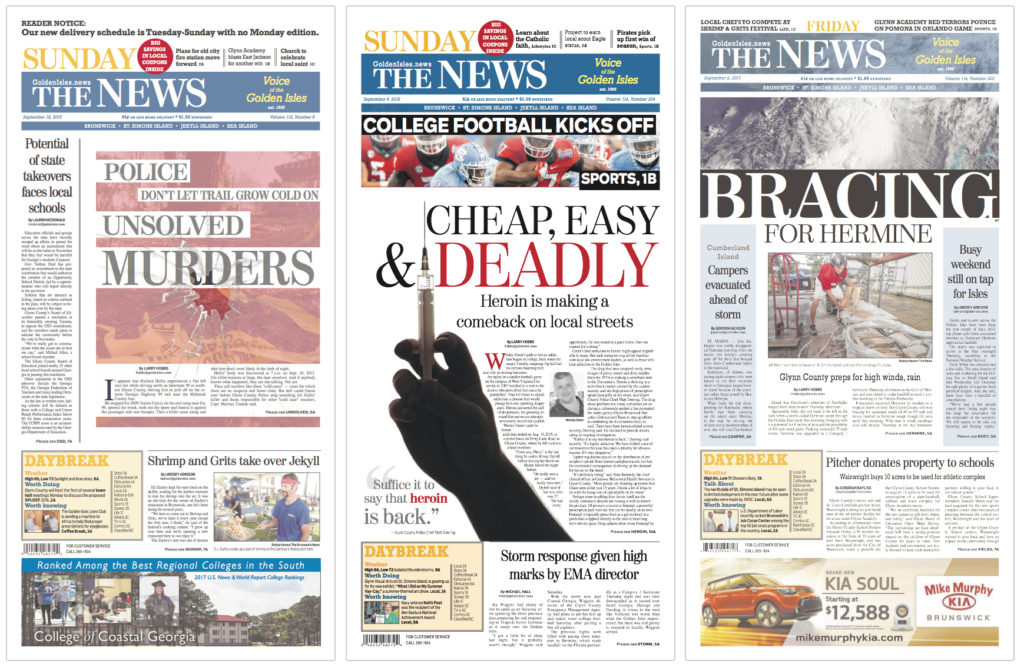 Brunswick (Ga.) News, redesign, live front pages. By Ron Reason Consulting