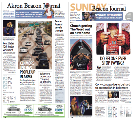 Akron Beacon Journal newspaper redesign.